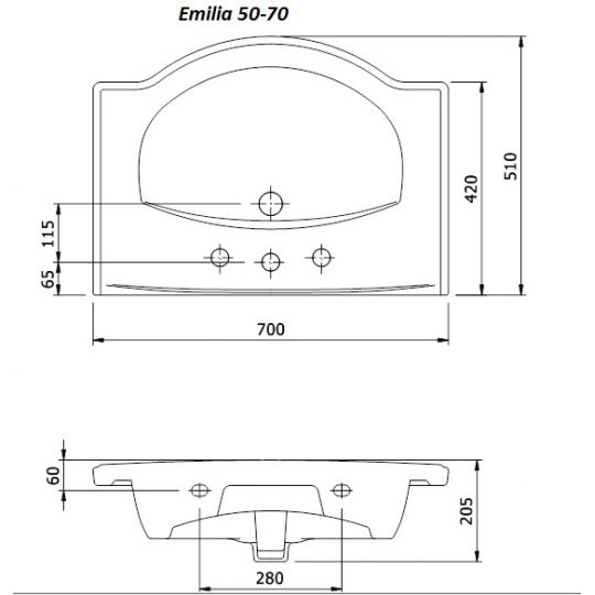 Lavoar pentru mobilier Cersanit Emilia 70 cm