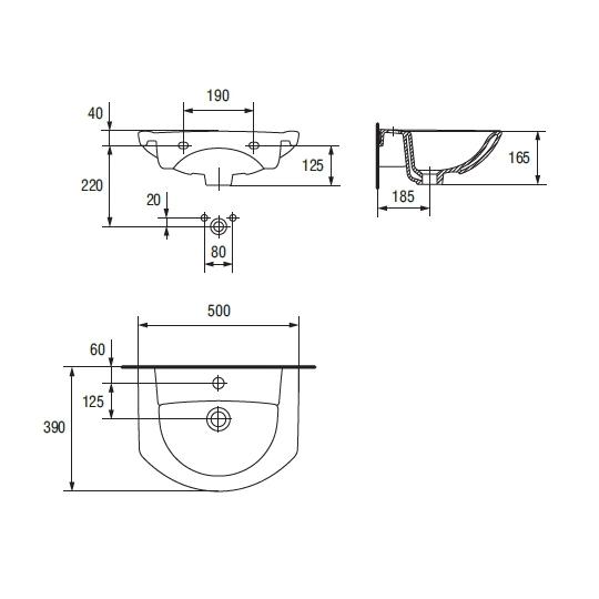 Lavoar pentru mobilier Cersanit Libra 50 cm