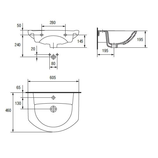 Lavoar pentru mobilier Cersanit Libra 60 cm
