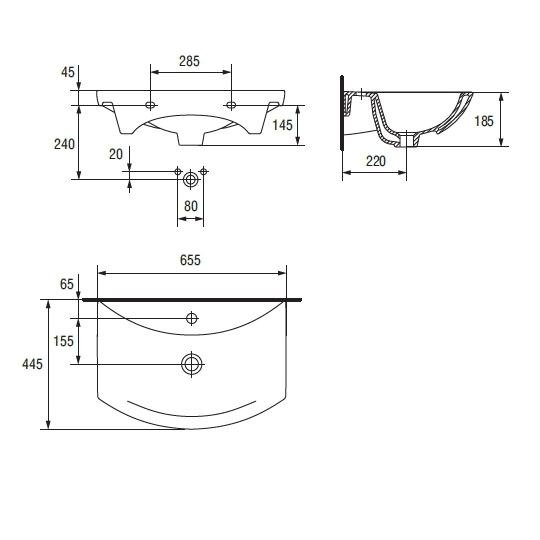Lavoar pentru mobilier Cersanit Omega 65 cm