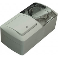 Modul Intrerupator control iluminat scara+Priza cu C.P. cu capac PT Eva IP54