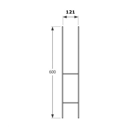 Suport H 60x600x121x6.0 mm