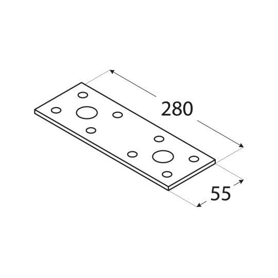 Placa perforata tip 3 55x280x2,5 mm