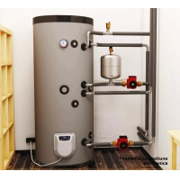 Boiler mixt cu 2 serpentine in paralel Eldom , capacitate 200 L, 3 kW, pe podea
