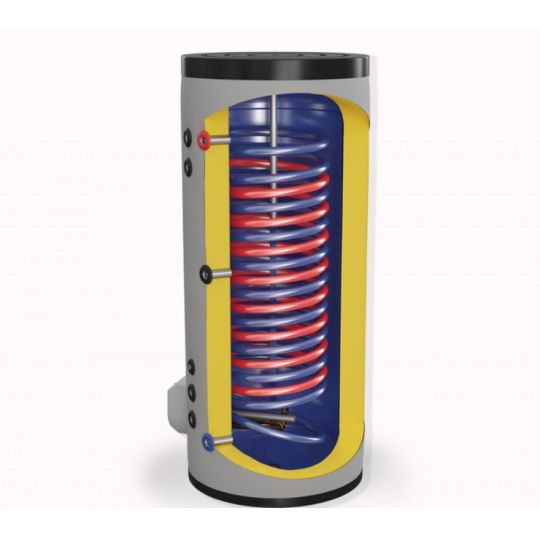 Boiler mixt cu 2 serpentine in paralel Eldom , capacitate 500 L, 9 kW, pe podea