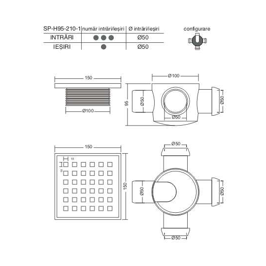 Sifon pentru pardoseala cu 3 iesiri si inaltator inox 50 mm