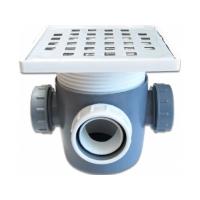 Sifon pentru pardoseala cu 3 iesiri cu dop si inaltator inox 50 mm
