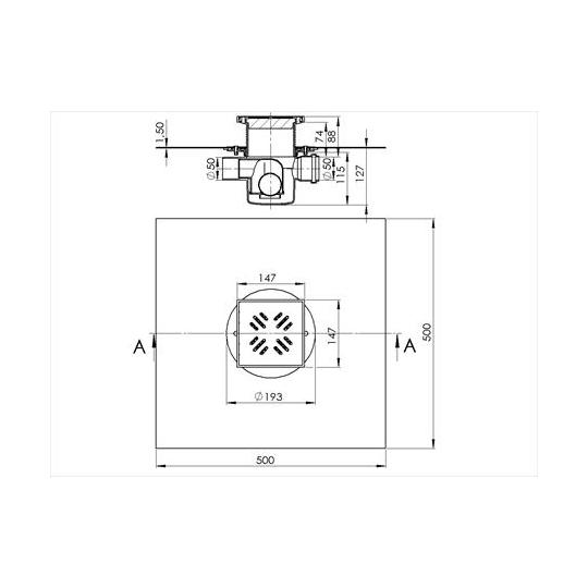 Sifon terasa STYRON cu inaltator 50 mm, 2 iesiri