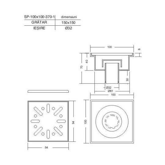 Sifon vertical patrat pentru pardoseala 100x100x40 mm
