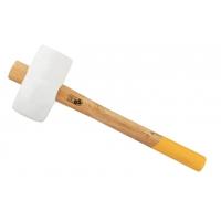 Ciocan cauciuc alb cu maner din lemn, greutate 350 g