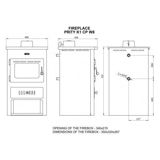 Termosemineu PRITY K1 W8 8+4 kW capac fonta