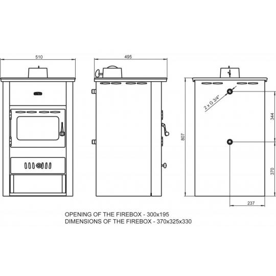 Termosemineu PRITY K2 CP W10 10+4 kW capac fonta