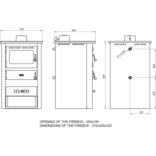 Termosemineu PRITY K22 CP W10 10+5 kW capac fonta