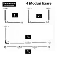 Bara perdea Inox dreptunghiulara 90x90x90 cm, 4 moduri de fixare Cleanmann