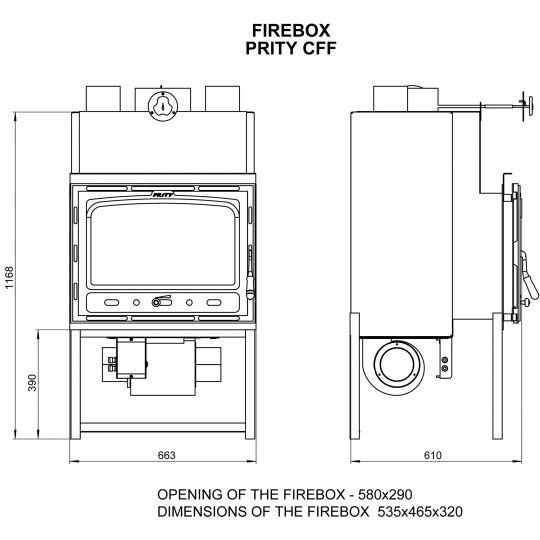 Focar cu ventilator Prity CF 18kW, aer cald fortat