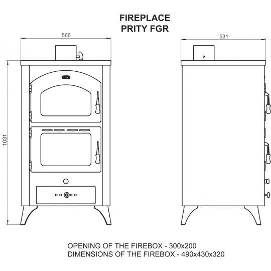 Soba incalzit cu cuptor Prity FG R 14 kW, pe picioare