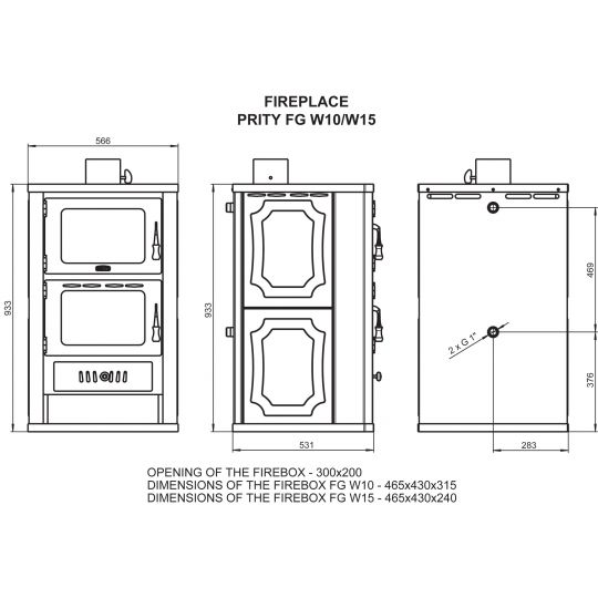 Termosemineu cu cuptor PRITY FGW15 15+5 kW