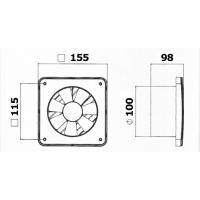 Ventilator de baie TG Q100, 14W