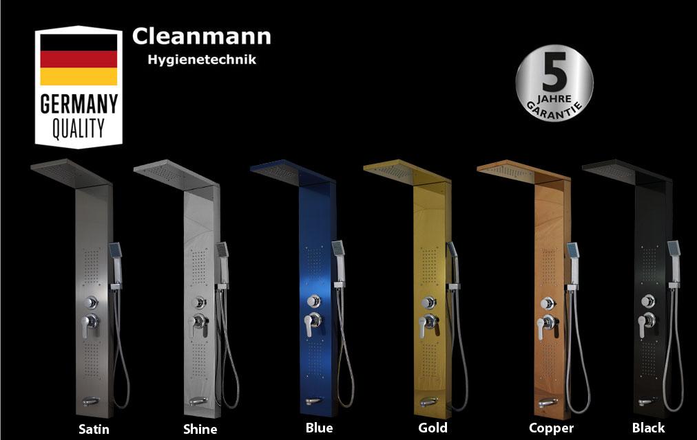 Panou dus hidromasaj inox 4 functii Trendy Square Black Cleanmann