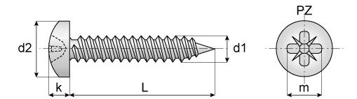 Surub autofiletant pentru tabla cap bombat DIN 7981C 4.2x9.5 ZA PH2 - 1000 buc