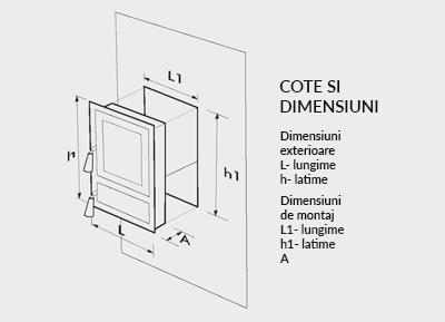 Usa soba din 2 bucati negru, cu geam (cod geam 660331 )