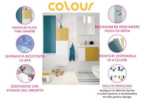 Set dulap de baie albastru+galben Cersanit Colour + lavoar Amao 80