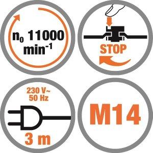 Polizor unghiular 125 mm, 900 W, 11000 RPM,  Meister MWS900-125