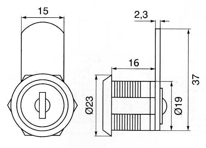 Incuietoare sertar cama si cilindru 19x16 mm L40